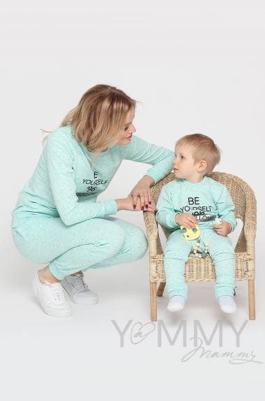 Костюм с принтом для кормящих и беременных, ментол